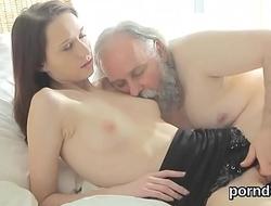 Erotic schoolgirl gets teased and plowed by her senior teacher