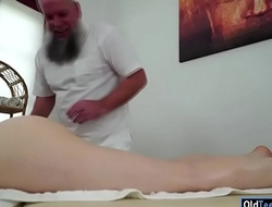 Czech Tera Link fingered by old masseur increased by sucking his cock