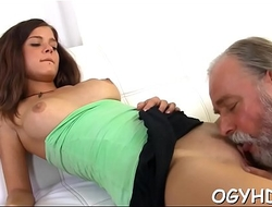 Young girl gives a blow everywhere old knob