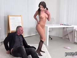 Elegant schoolgirl was tempted and pounded by her elder tutor