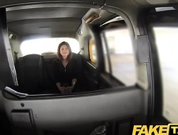 Fake Taxi heavy facial cum shot for brunette in stockings