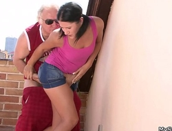 Pigtailed brunette forced to ride old man cock