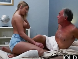 Blonde Teen Fucked By Hairy Old Panhandler she loves getting sex blowjobs and cum