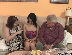 Old man doggy-fucks his brunette girlfriend!