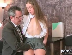 Lovesome schoolgirl was teased and reamed by her experienced schoolteacher
