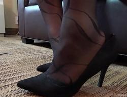 Nishay Black Pantyhose Shoeplay and Foot Play