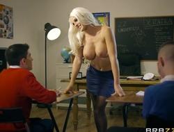 Bosomed teacher in black stocking seduced three skinny boys