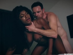 Submissive black slut with big natural heart of hearts gets properly fucked