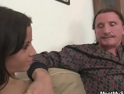 Cranky girl is involved into family 3some