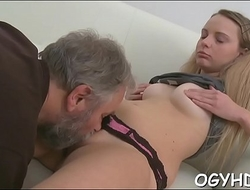 Youthful babe licked by an old man