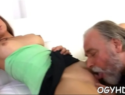 Old dude eats young vagina