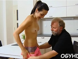 Cute youthful gal screwed by old guy