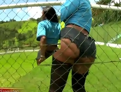 Mr Big Latina TS exposes big breasts and butt on soccer field